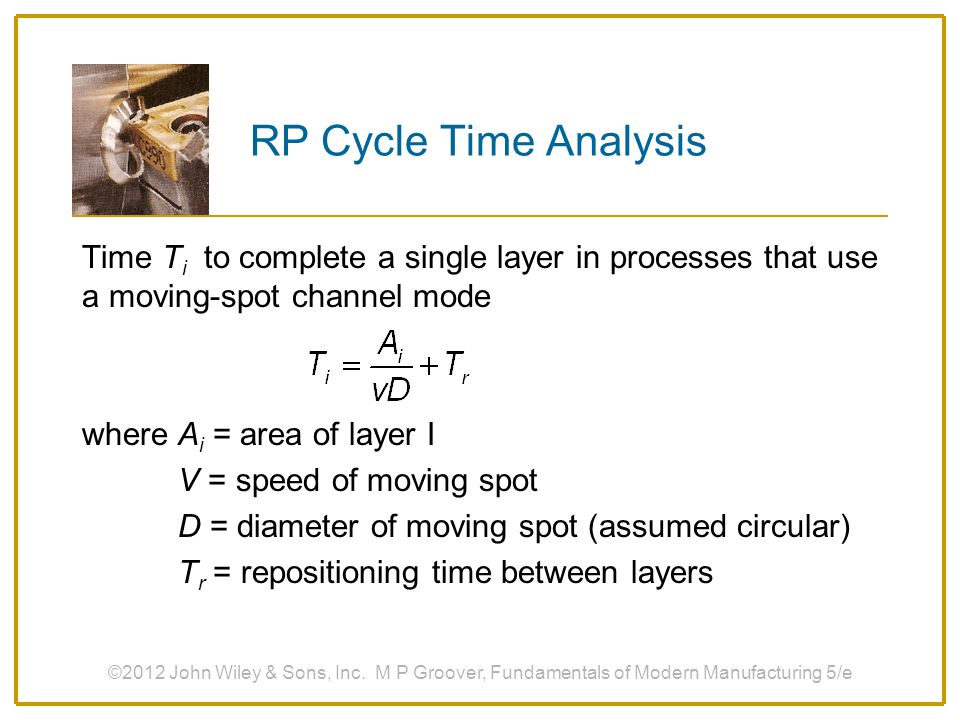RP Cycle Time Analysis Time Ti to complete a single layer in processes that use a moving-spot channel mode.
