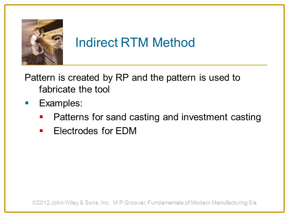 Indirect RTM Method Pattern is created by RP and the pattern is used to fabricate the tool. Examples: