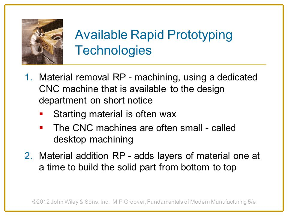 Available Rapid Prototyping Technologies