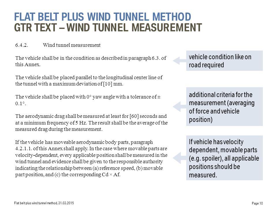 flat belt plus wind tunnel Method GTR Text – wind tunnel measurement