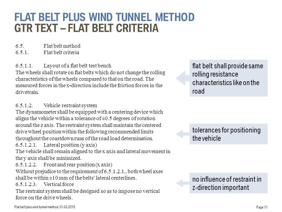 flat belt plus wind tunnel Method GTR Text – Flat Belt criteria