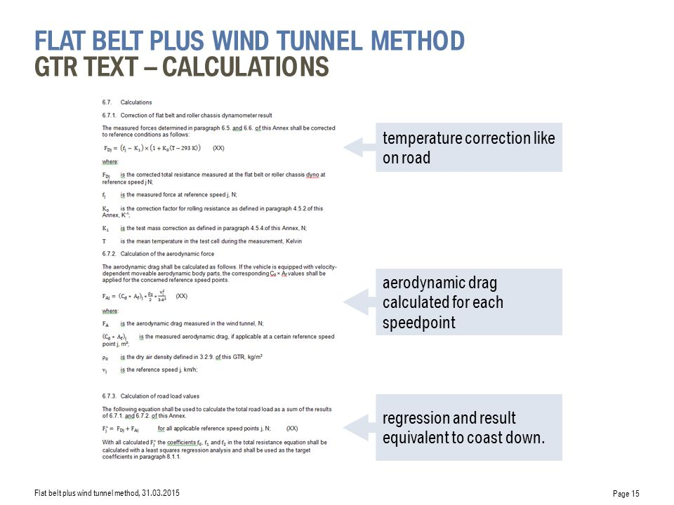 flat belt plus wind tunnel Method GTR Text – calculations