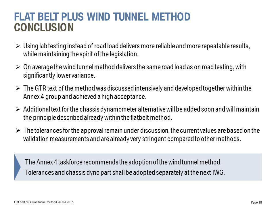 flat belt plus wind tunnel Method Conclusion