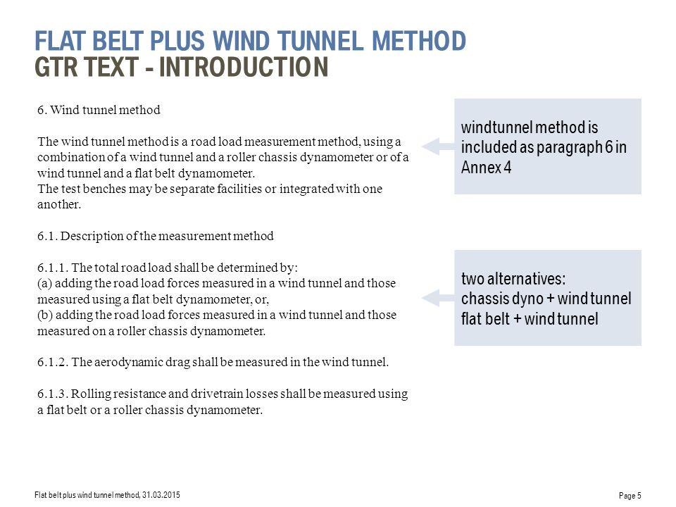 flat belt plus wind tunnel Method GTR Text - introduction