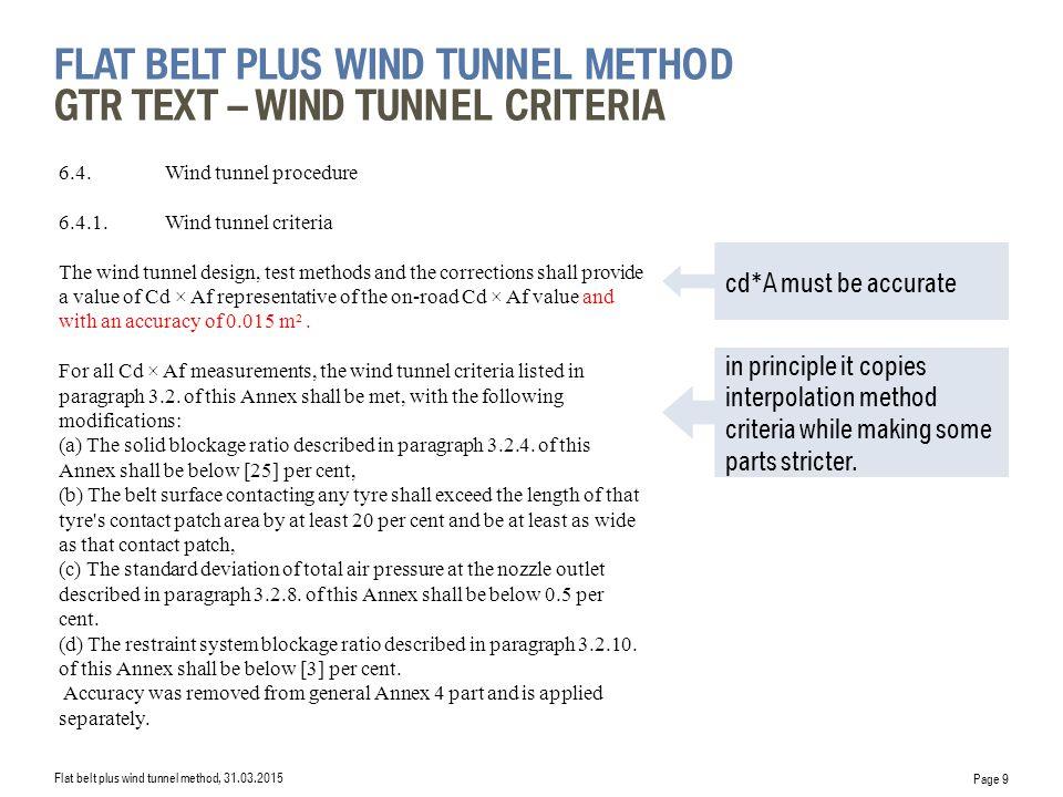 flat belt plus wind tunnel Method GTR Text – wind tunnel criteria