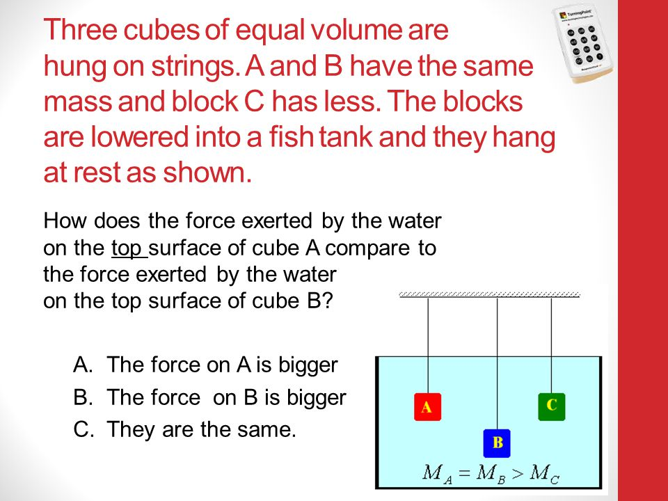 Three cubes of equal volume are hung on strings