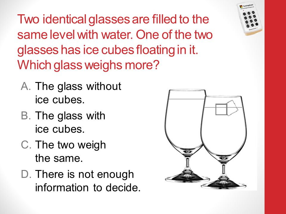 Two identical glasses are filled to the same level with water