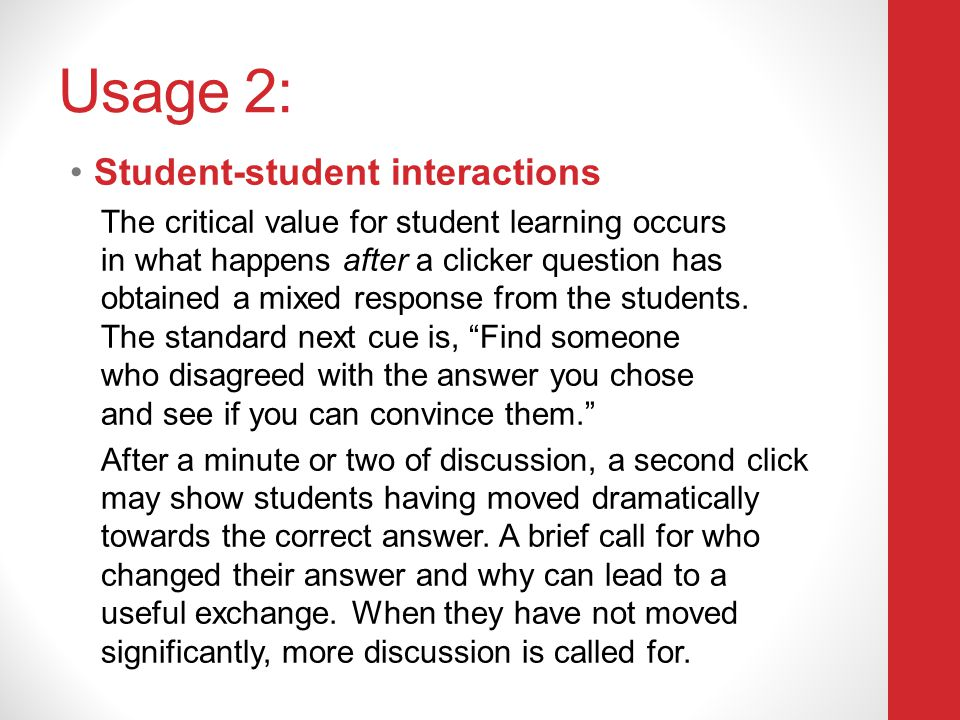 Usage 2: Student-student interactions