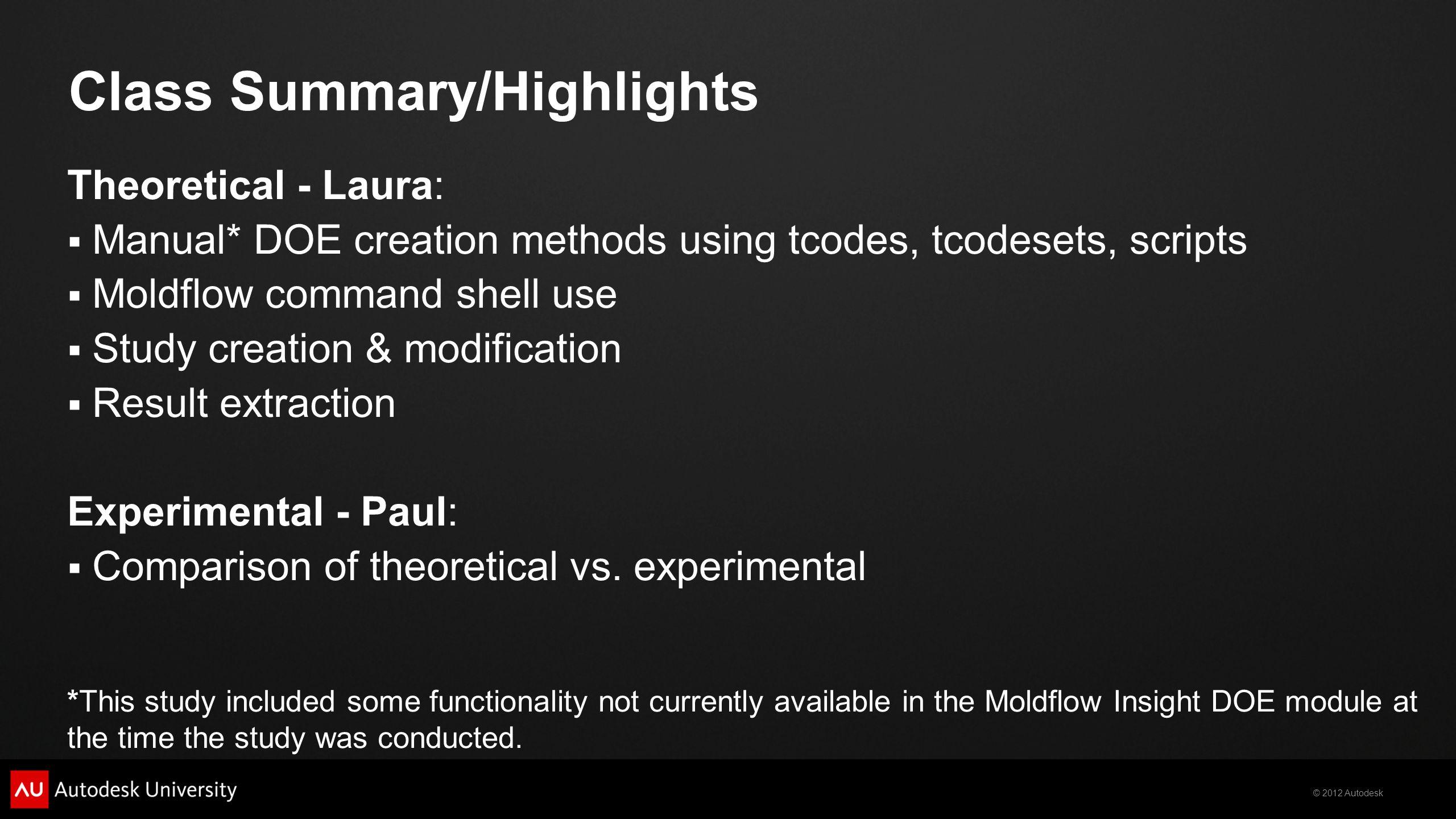 Class Summary/Highlights