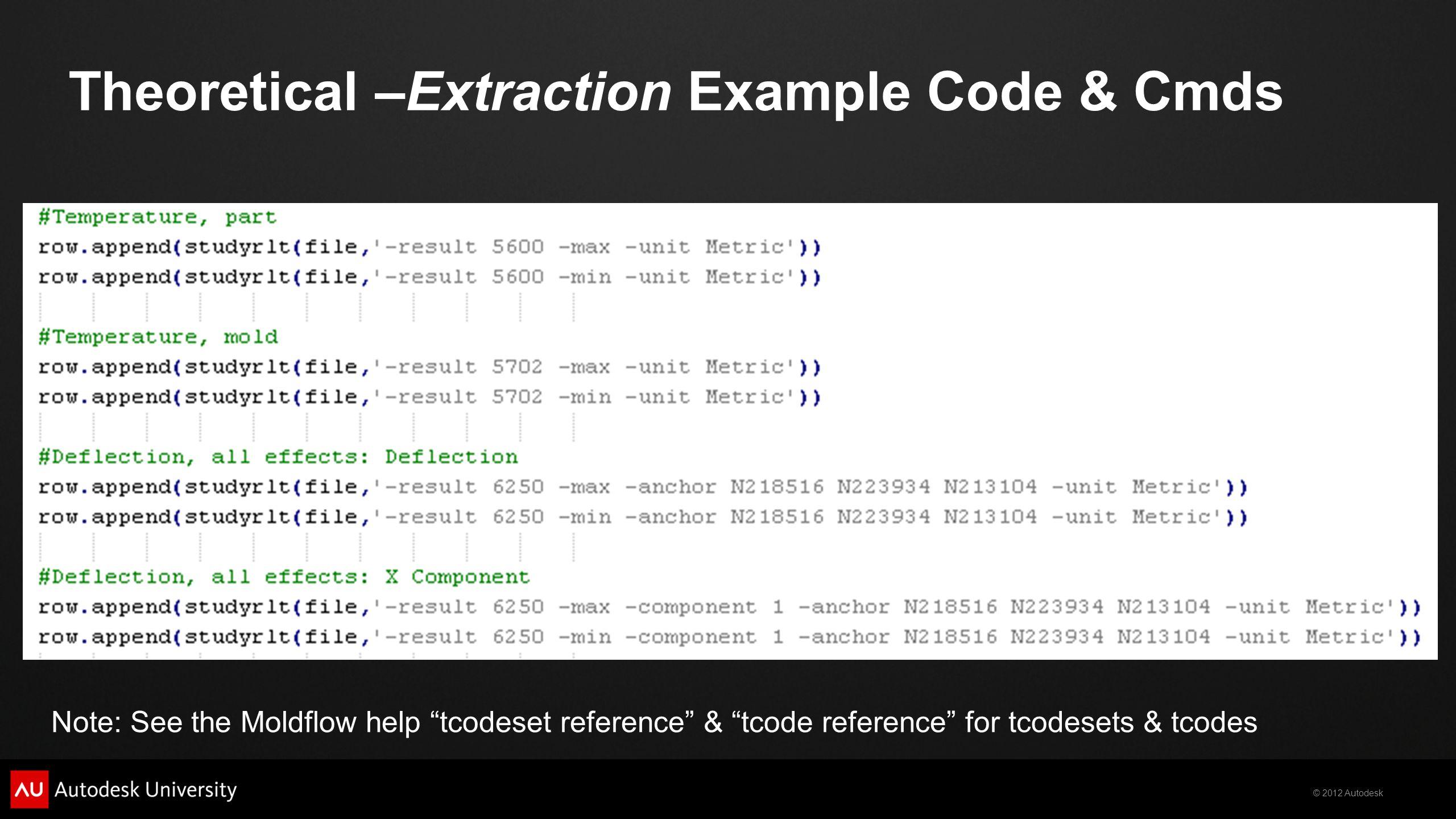 Theoretical –Extraction Example Code & Cmds