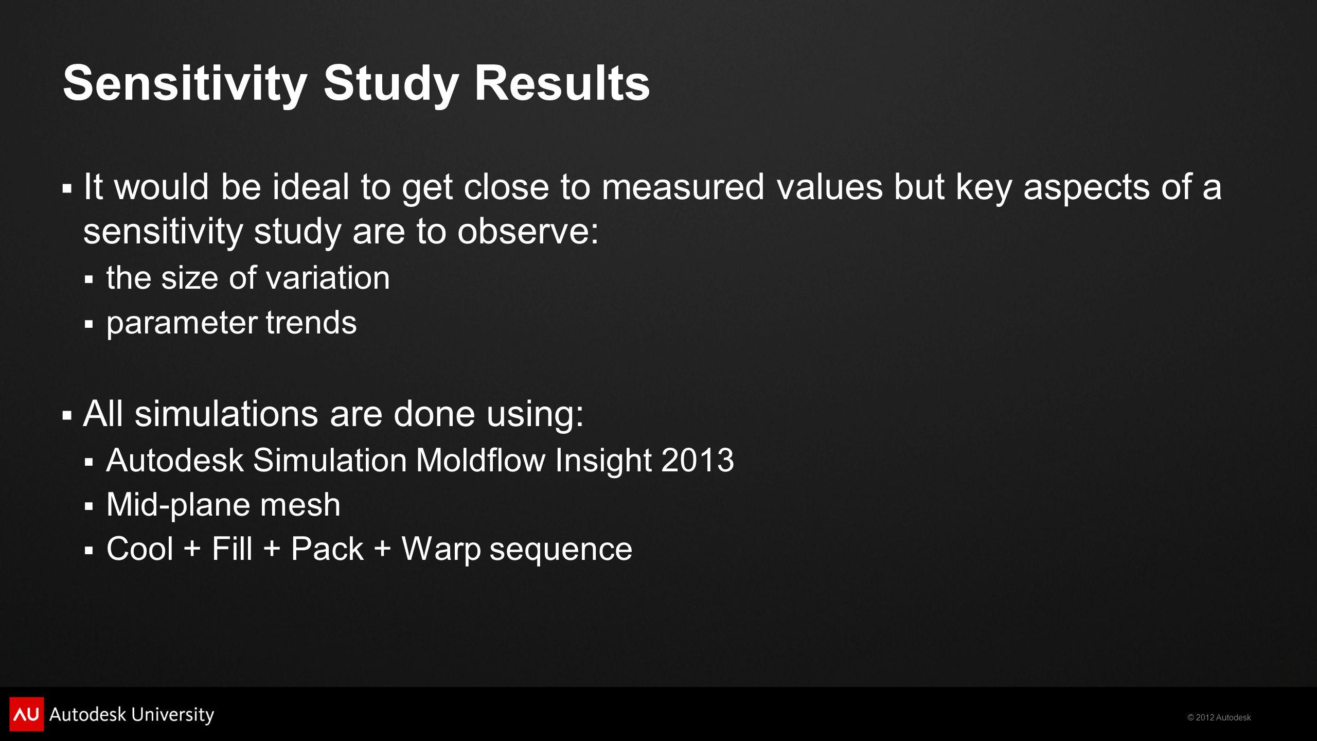 Sensitivity Study Results