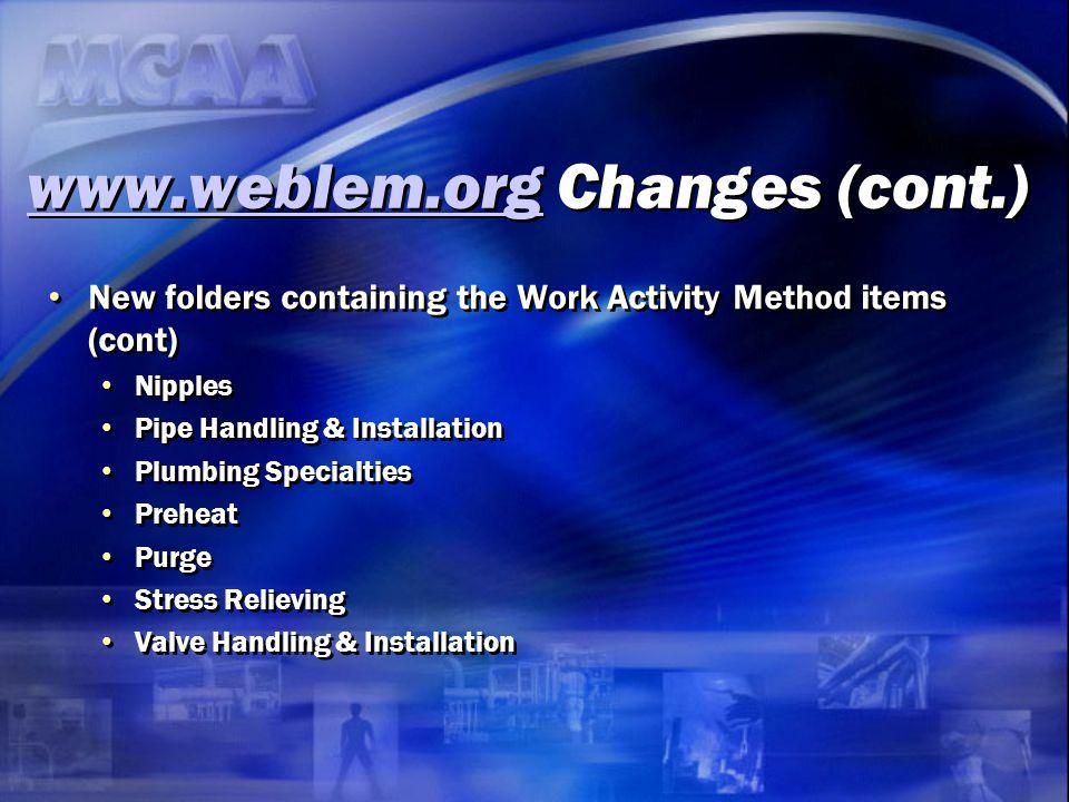 www.weblem.org Changes (cont.)