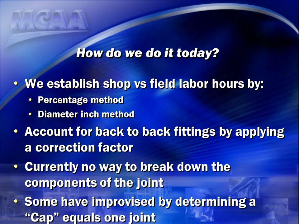 We establish shop vs field labor hours by: