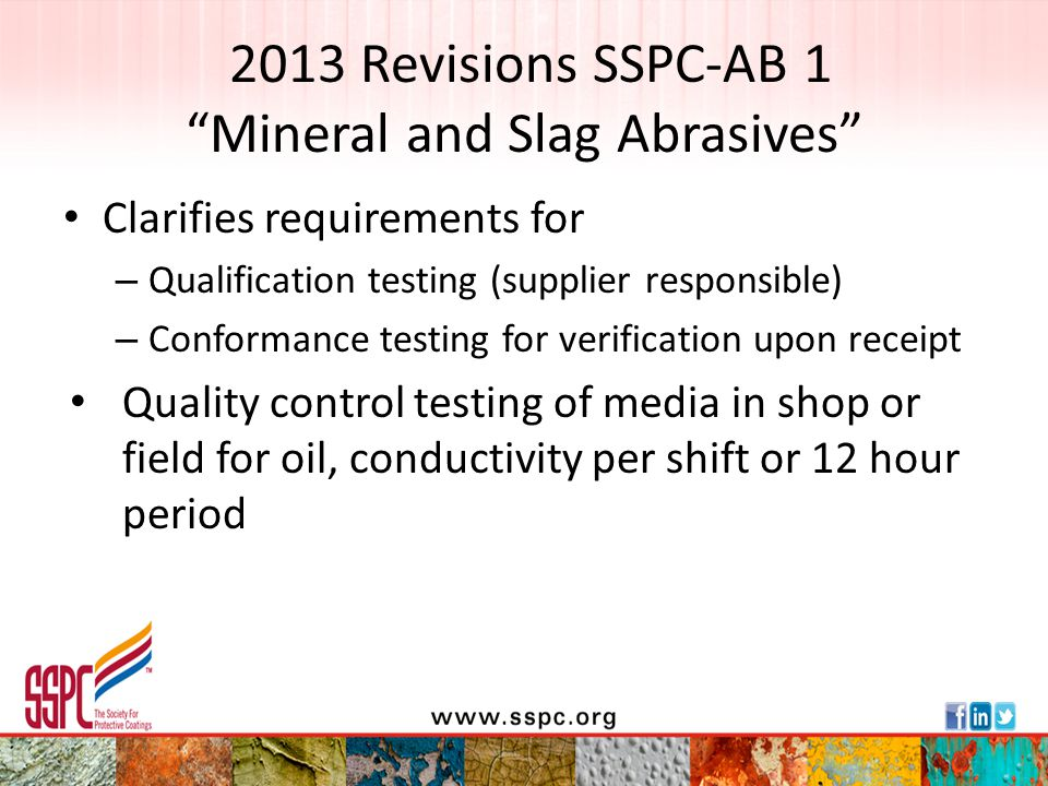 2013 Revisions SSPC-AB 1 Mineral and Slag Abrasives