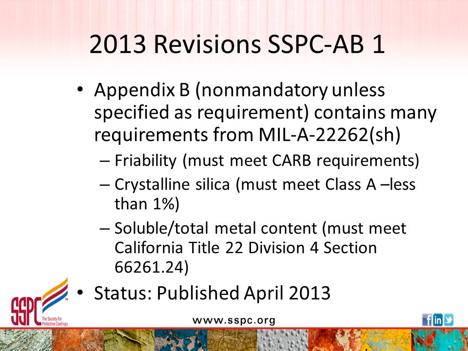 2013 Revisions SSPC-AB 1 Appendix B (nonmandatory unless specified as requirement) contains many requirements from MIL-A-22262(sh)