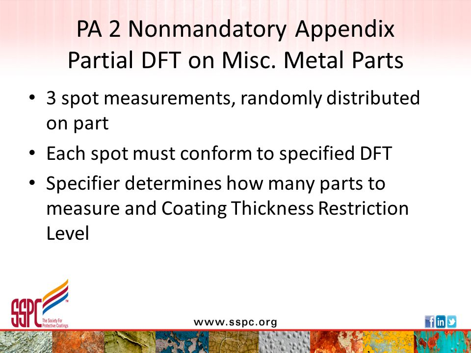 PA 2 Nonmandatory Appendix Partial DFT on Misc. Metal Parts