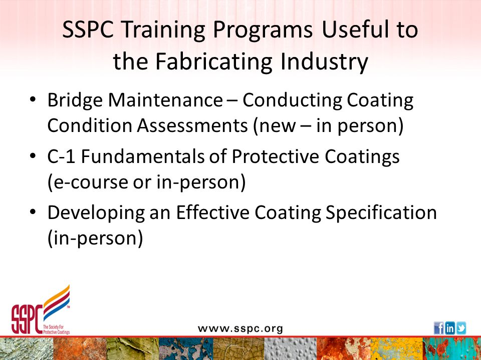 SSPC Training Programs Useful to the Fabricating Industry
