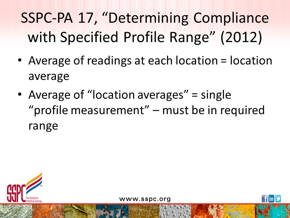 SSPC-PA 17, Determining Compliance with Specified Profile Range (2012)
