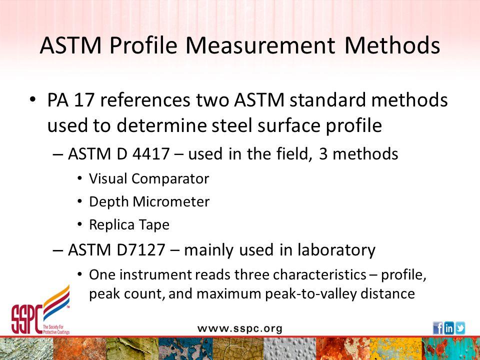 ASTM Profile Measurement Methods