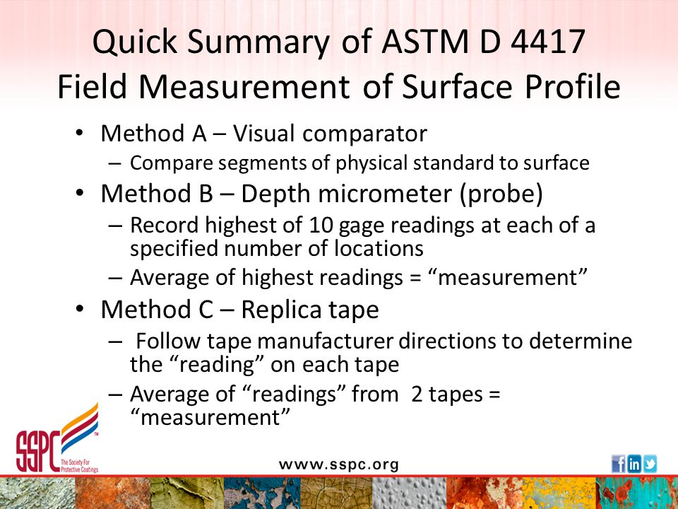 Quick Summary of ASTM D 4417 Field Measurement of Surface Profile