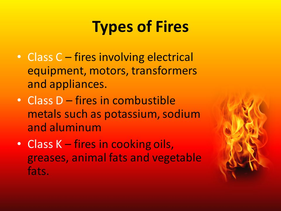 Types of Fires Class C – fires involving electrical equipment, motors, transformers and appliances.