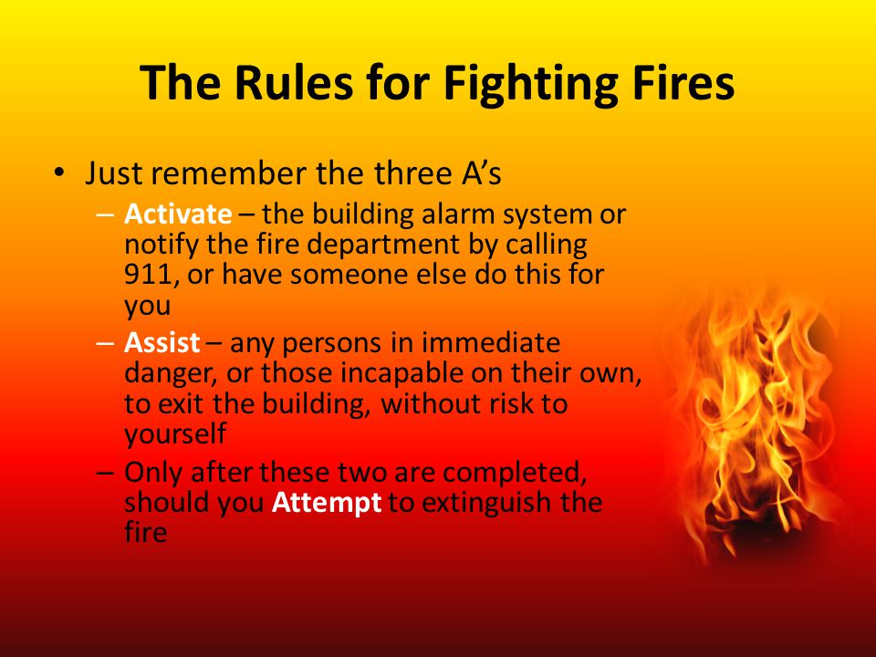 The Rules for Fighting Fires
