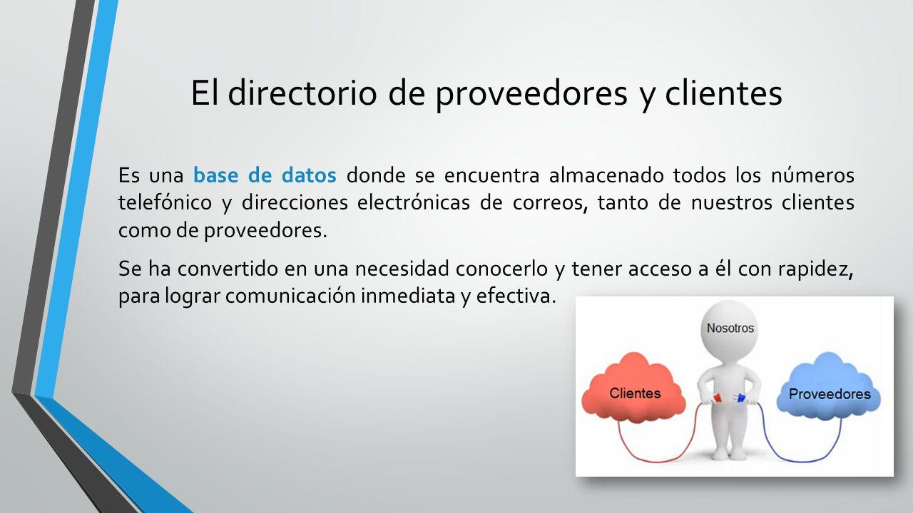 El directorio de proveedores y clientes