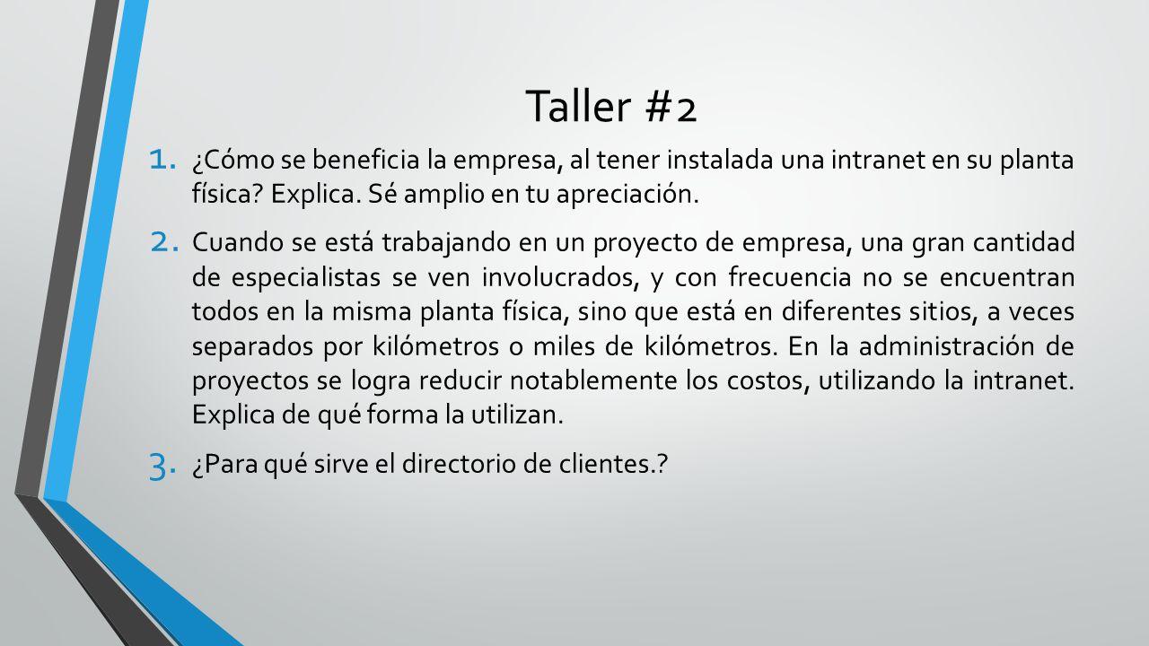 Taller #2 ¿Cómo se beneficia la empresa, al tener instalada una intranet en su planta física Explica. Sé amplio en tu apreciación.
