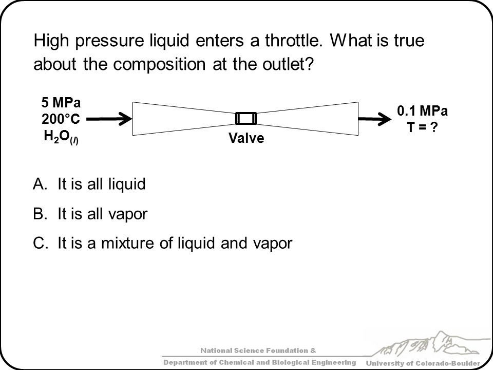 High pressure liquid enters a throttle