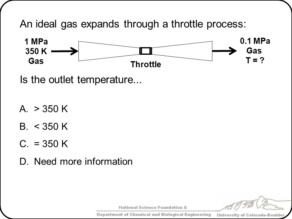 An ideal gas expands through a throttle process: