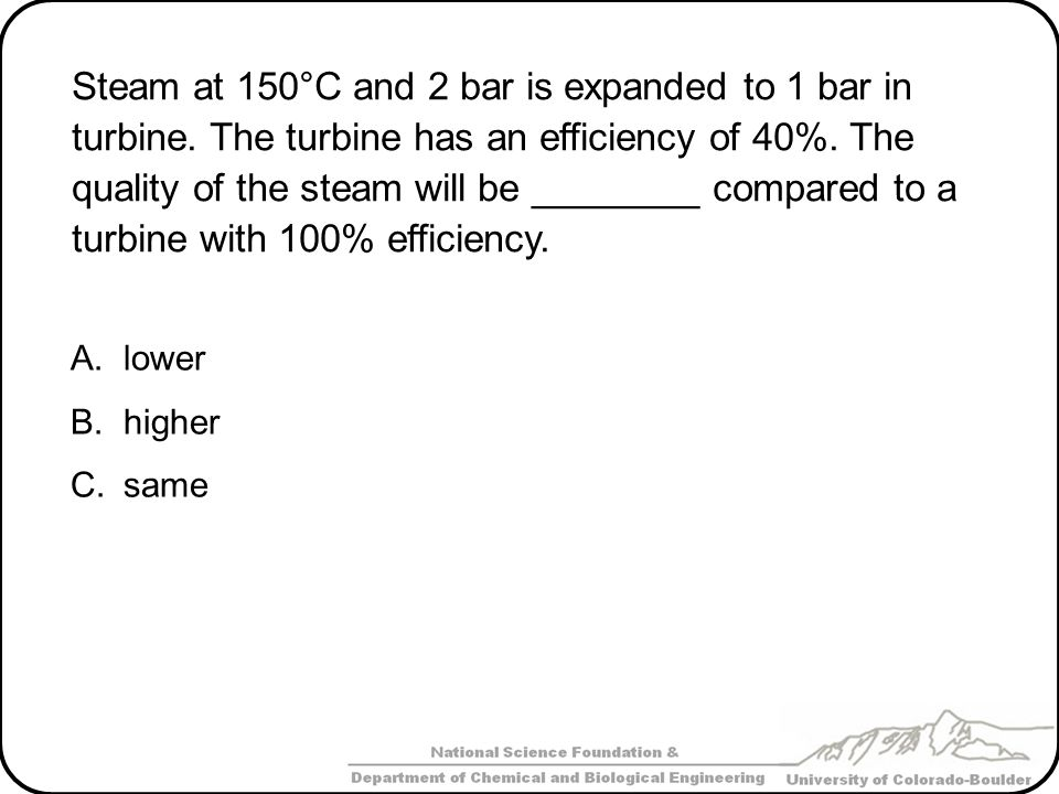 Steam at 150°C and 2 bar is expanded to 1 bar in turbine