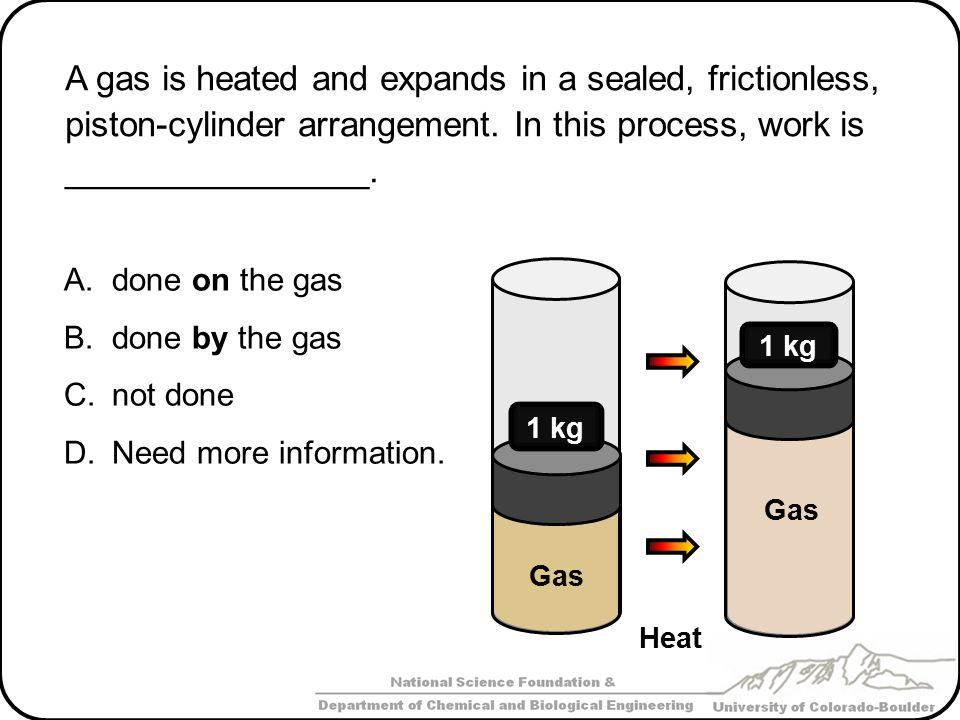 A gas is heated and expands in a sealed, frictionless, piston-cylinder arrangement. In this process, work is ________________.