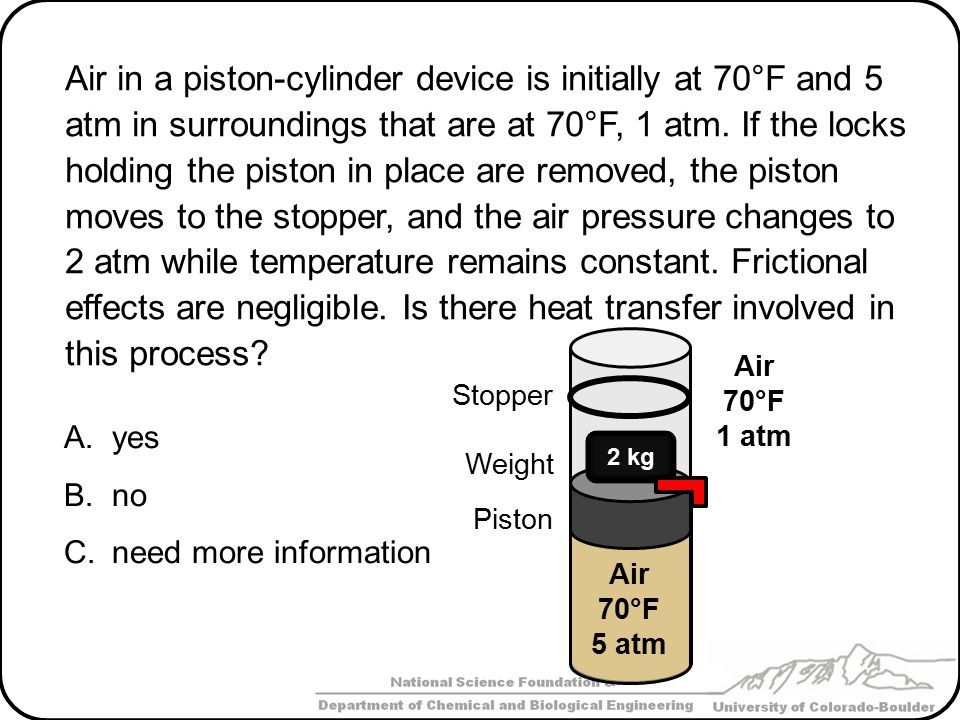 Air in a piston-cylinder device is initially at 70°F and 5 atm in surroundings that are at 70°F, 1 atm. If the locks holding the piston in place are removed, the piston moves to the stopper, and the air pressure changes to 2 atm while temperature remains constant. Frictional effects are negligible. Is there heat transfer involved in this process