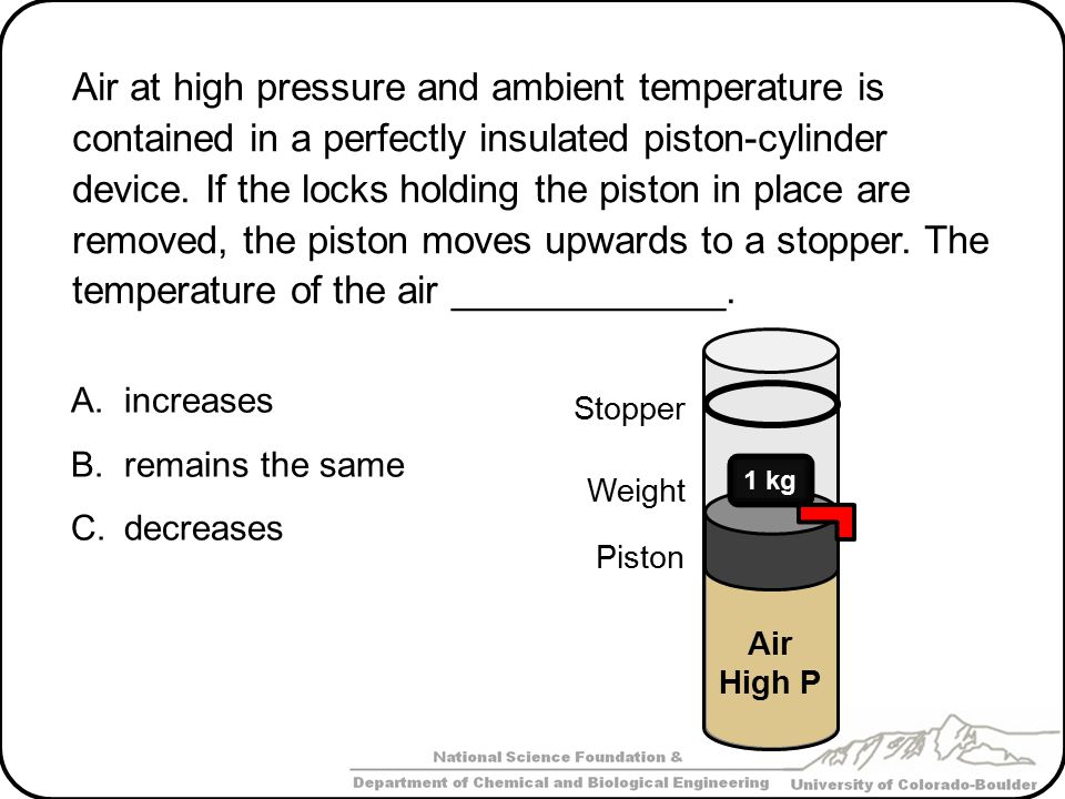 Air at high pressure and ambient temperature is contained in a perfectly insulated piston-cylinder device. If the locks holding the piston in place are removed, the piston moves upwards to a stopper. The temperature of the air _____________.