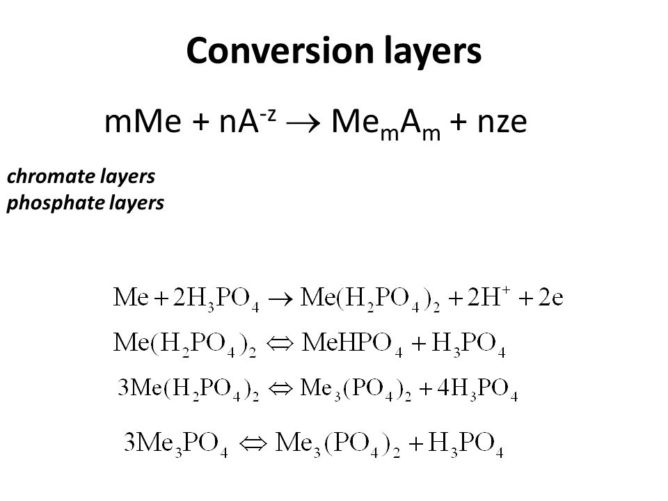 Conversion layers mMe + nA-z  MemAm + nze chromate layers