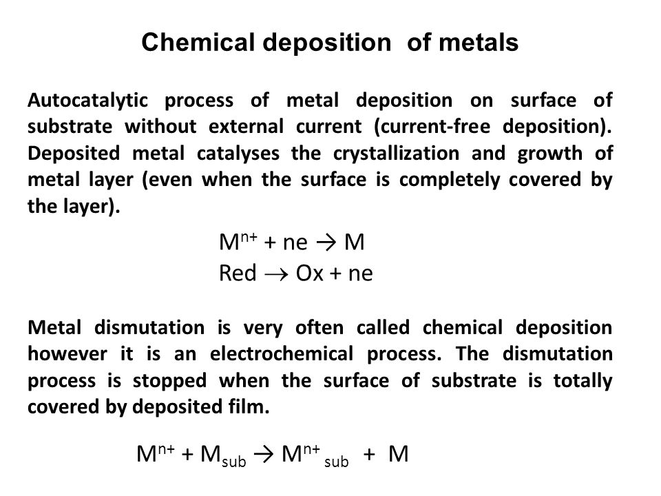 Chemical deposition of metals