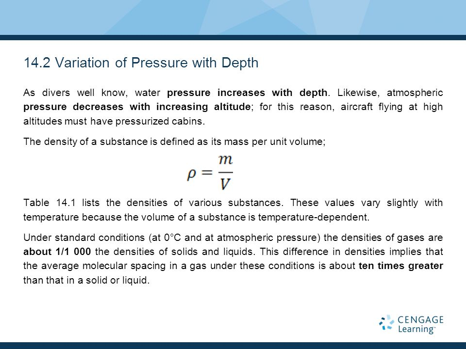 14.2 Variation of Pressure with Depth