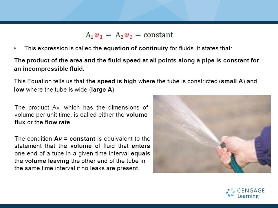 This expression is called the equation of continuity for fluids