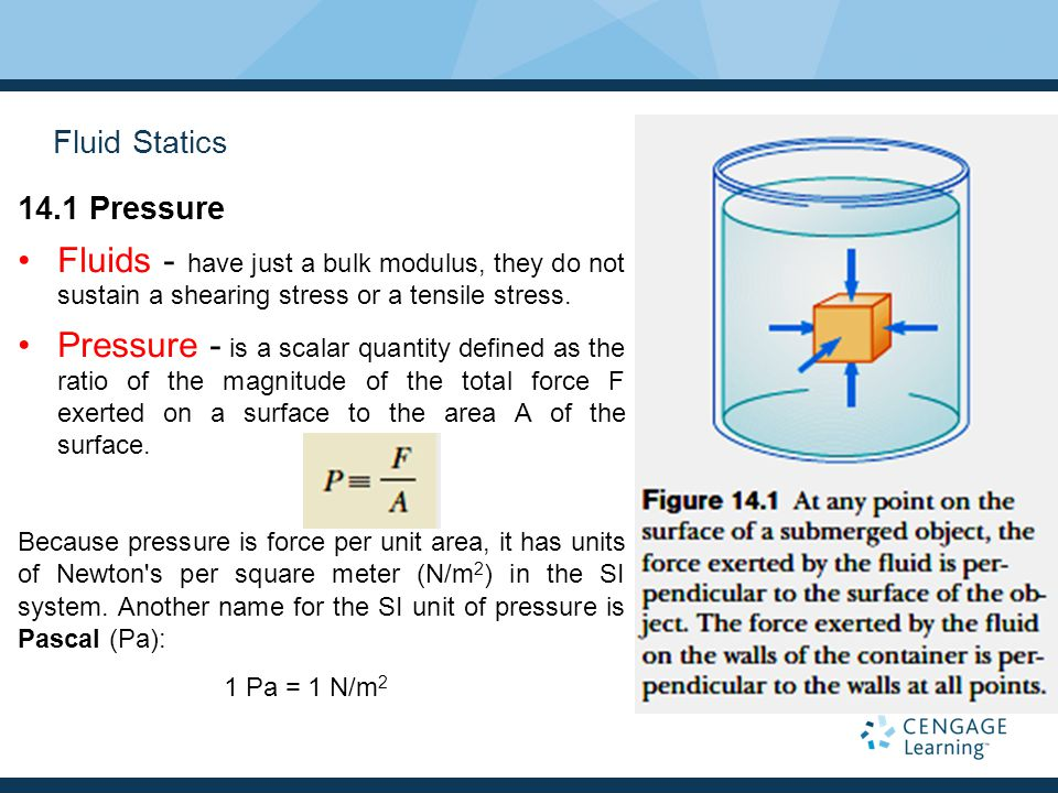 Fluid Statics 14.1 Pressure. Fluids - have just a bulk modulus, they do not sustain a shearing stress or a tensile stress.