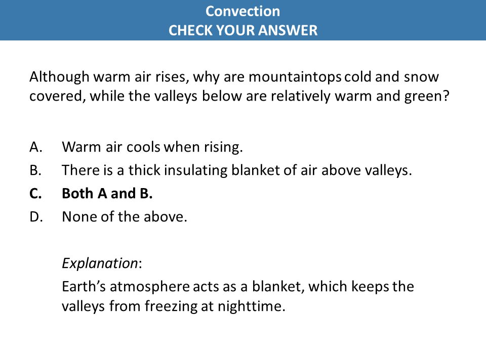 Convection CHECK YOUR ANSWER