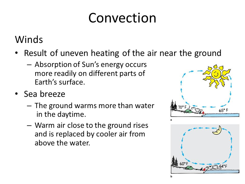 Convection Winds Result of uneven heating of the air near the ground