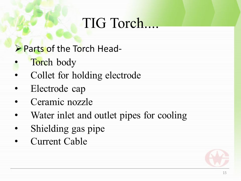 TIG Torch.... Parts of the Torch Head- Torch body