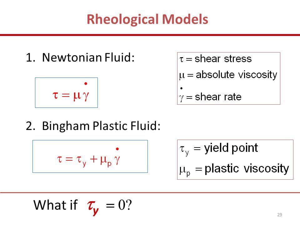 1. Newtonian Fluid: 2. Bingham Plastic Fluid: