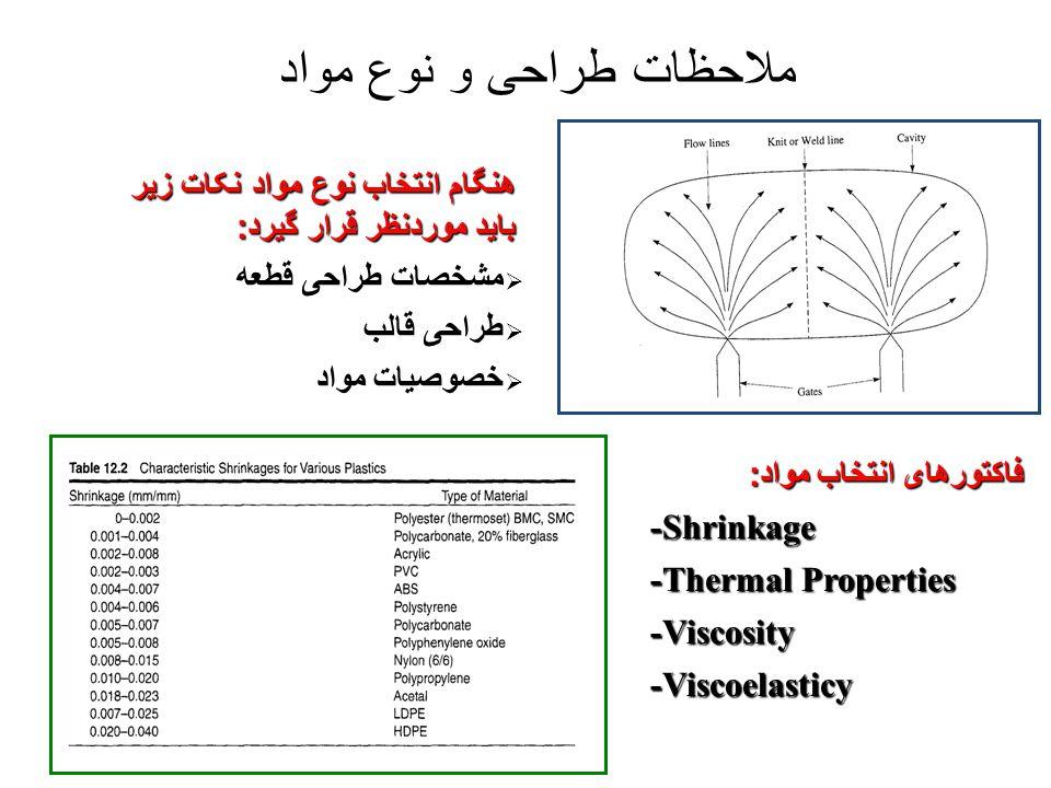 ملاحظات طراحی و نوع مواد