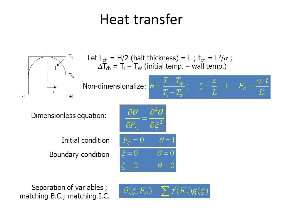 Heat transfer Let Lch = H/2 (half thickness) = L ; tch = L2/a ;