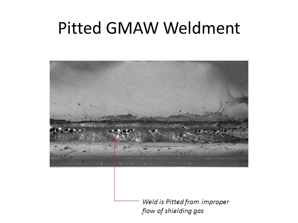 Pitted GMAW Weldment Weld is Pitted from improper flow of shielding gas