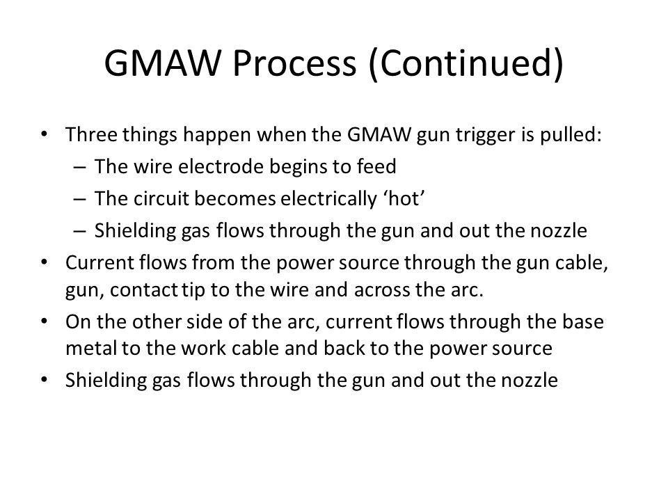 GMAW Process (Continued)