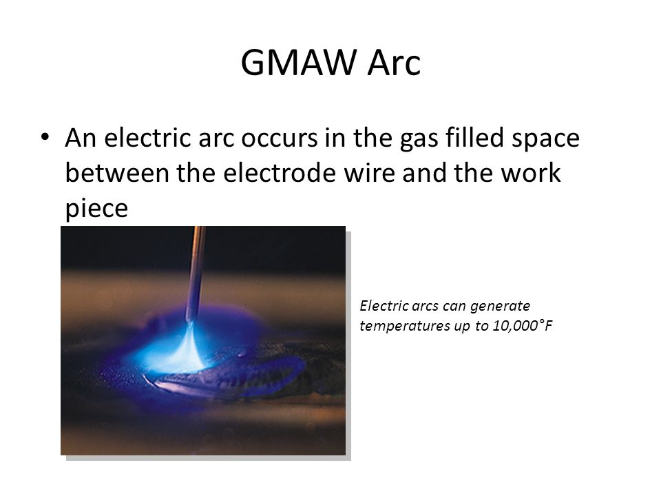GMAW Arc An electric arc occurs in the gas filled space between the electrode wire and the work piece.