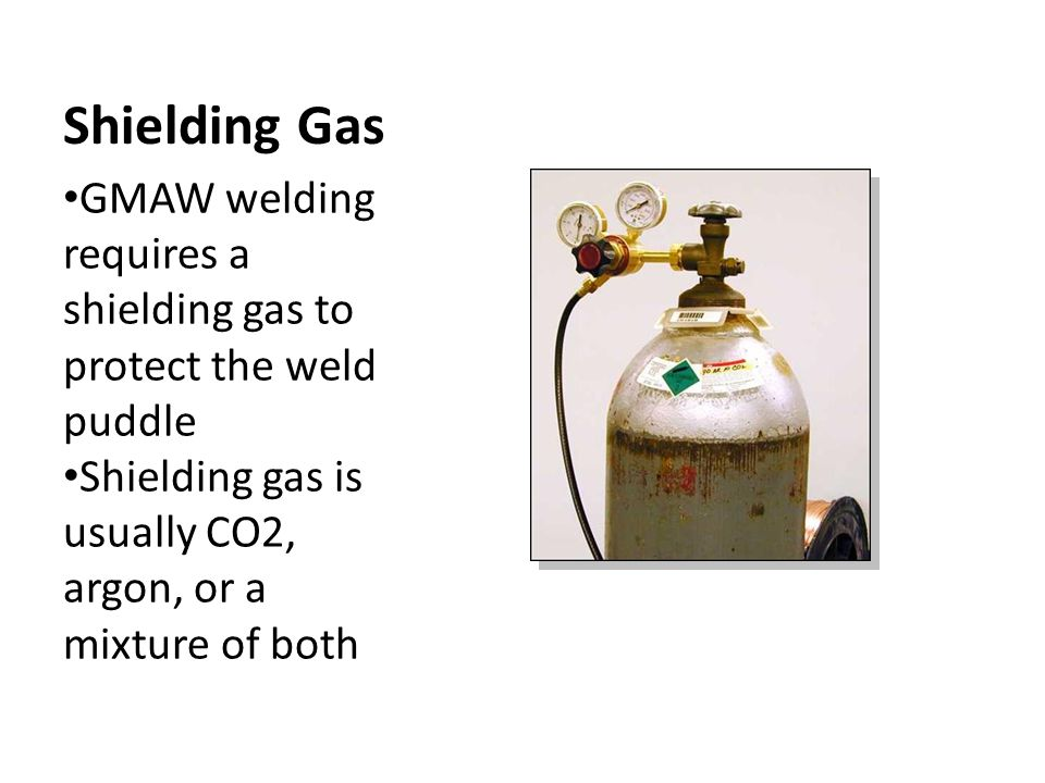 Shielding Gas GMAW welding requires a shielding gas to protect the weld puddle.
