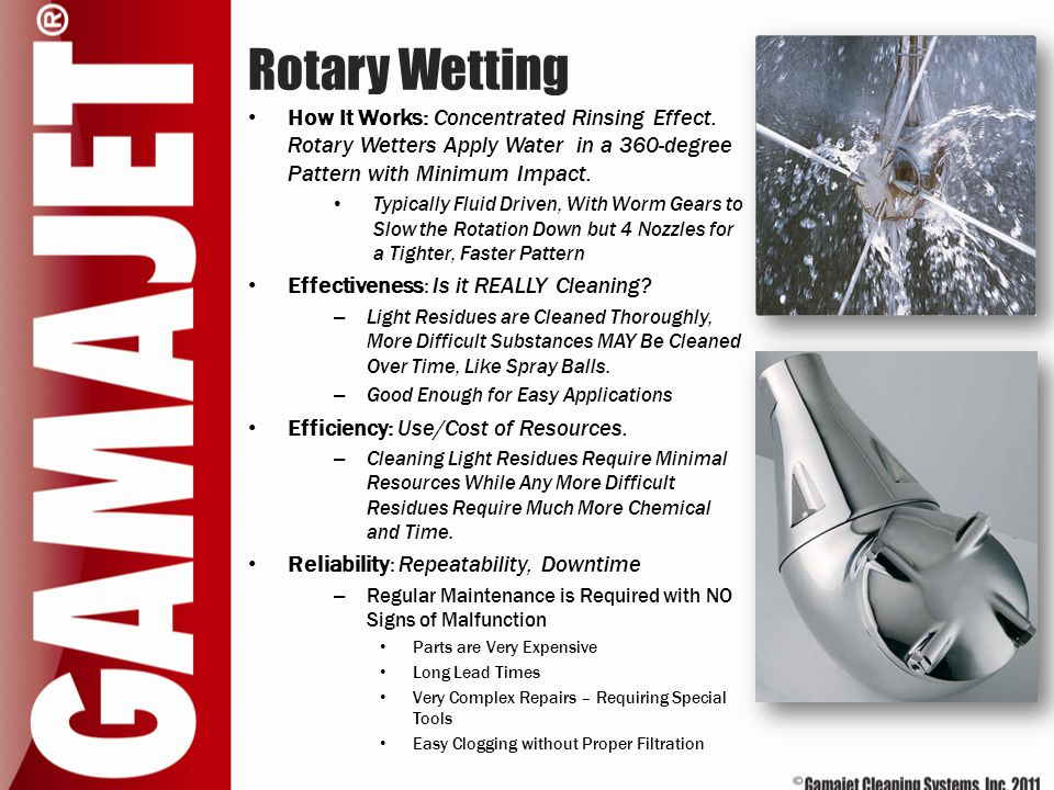 Rotary Wetting How It Works: Concentrated Rinsing Effect. Rotary Wetters Apply Water in a 360-degree Pattern with Minimum Impact.